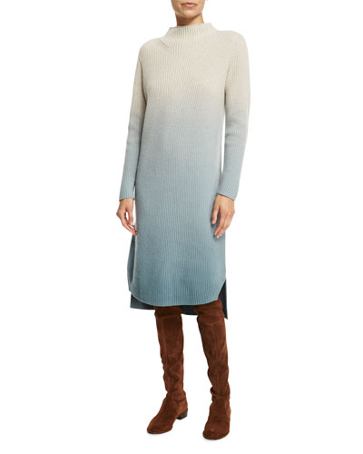 Long Ombre Ribbed Wool Sweater Dress, Ecru/Balsam