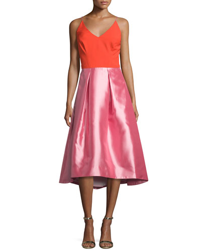 Colorblock V-Neck Fit-&-Flare Dress, Pink