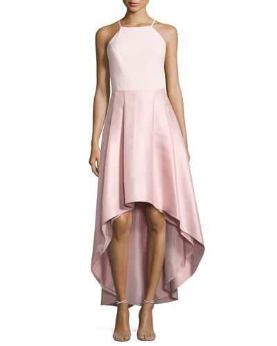 Pleated Halter-Neck High-Low Dress, Blush