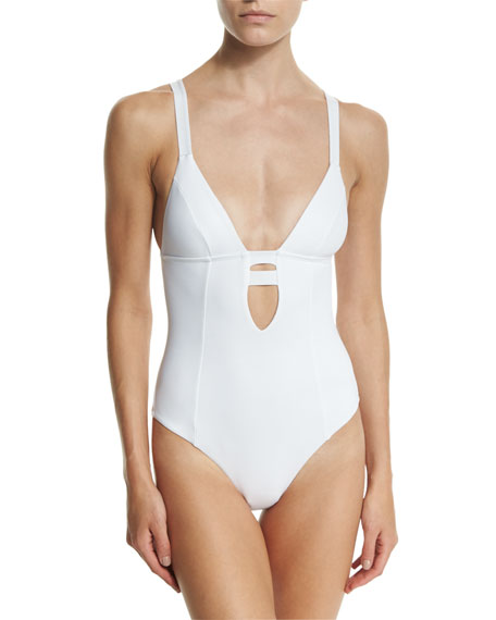 Vitamin A Neutra Strappy-Back One-Piece Swimsuit, Eco White