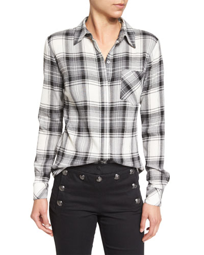 Poppy Long-Sleeve Plaid Button-Front Shirt, Black/Gray/White