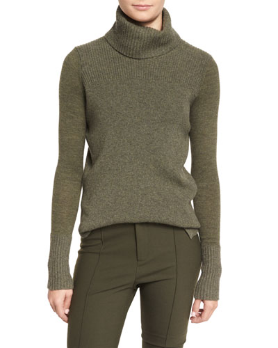Asa Ribbed Cashmere Turtleneck Sweater, Army