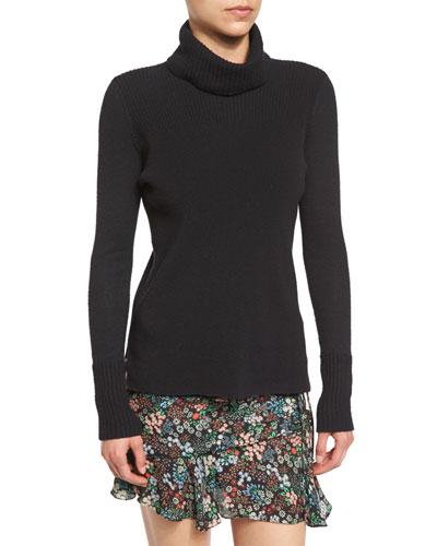 Asa Ribbed Cashmere Turtleneck Sweater, Black