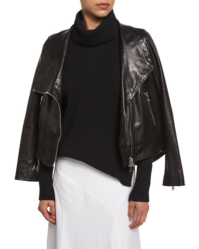 Mission Leather Swing-Back Moto Jacket, Black