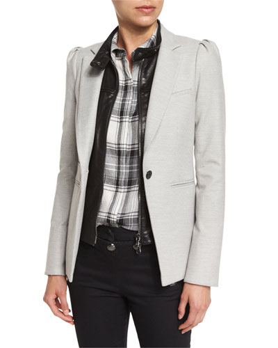 Bodega Single-Button Herringbone Blazer, Light Gray