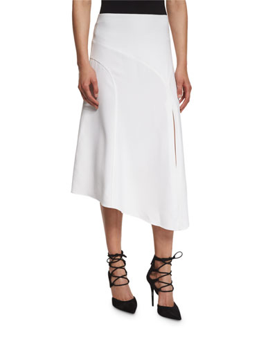 Maverick Asymmetric Midi Skirt, White