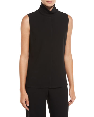 Brinkley Sleeveless Mock-Neck Blouse, Black