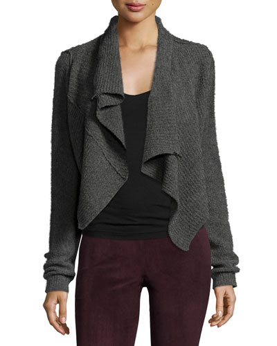 Iliana Draped Asymmetric Wool-Blend Sweater, Light Gray Melange