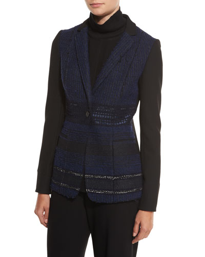 Dorinda Tweed-Front One-Button Jacket, Black/Multi