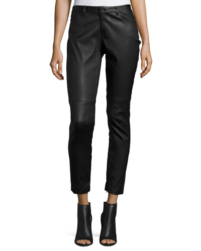 Trista Slim-Leg Leather Pants w/ Zip Cuffs, Black