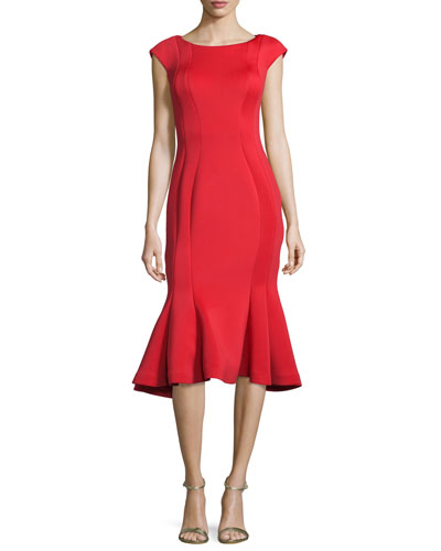 Midi Drop-Waist Cocktail Dress, Red