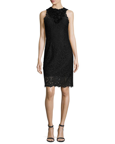 Donna Sleeveless Jewel-Neck Lace Sheath Dress, Black