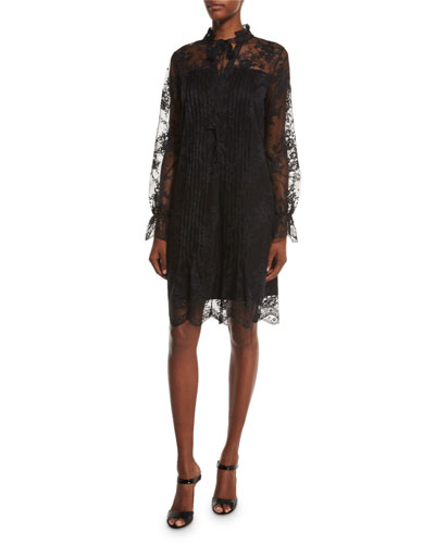 Dara Long-Sleeve Lace Overlay Dress, Black