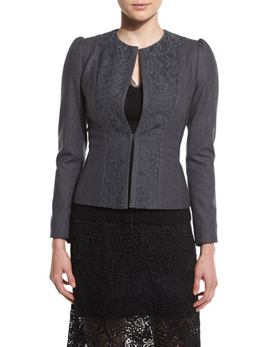 Melody Lace-Panel Stretch-Knit Jacket, Carbon Melange