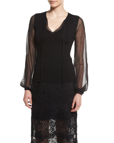 Malia Split V-Neck Wool Sweater w/ Sheer Long Sleeves, Black