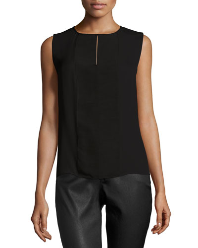 Camille Sleeveless Keyhole Silk Blouse, Black