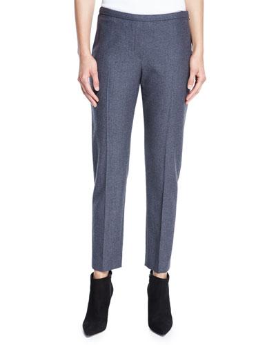 Marcia Straight-Leg Stretch-Wool Ankle Pants, Carbon Melange
