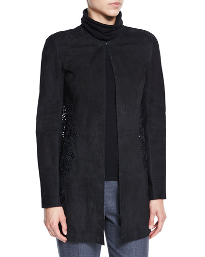 Ellis Suede & Lace Coat, Black
