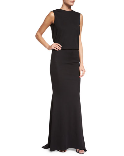 Lochar Sleeveless Draped-Black Jersey Gown, Black
