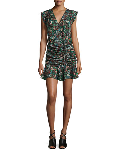 Floral Silk Waterfall Dress, Black/Multicolor