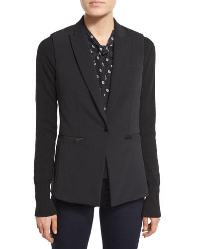 Single-Button Scuba Vest, Black