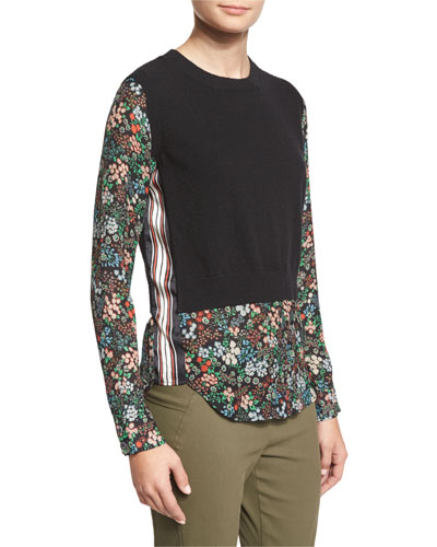 Mellow Mixed-Media Cashmere Sweater, Black