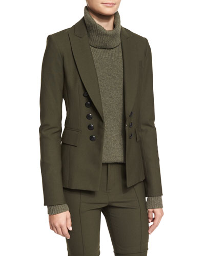 Sarin Double-Breasted Stretch Blazer, Loden