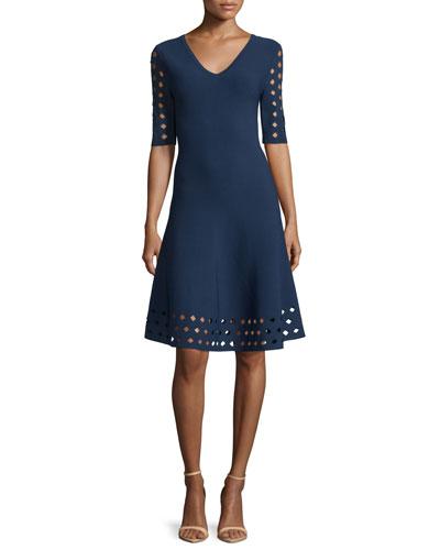 Half-Sleeve Diamond Pointelle Fit-&-Flare Dress, Navy
