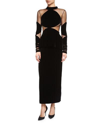 Velvet Sheer-Illusion Peplum Midi Cocktail Dress, Black
