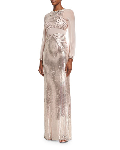 Sequined Long-Sleeve Column Gown, Ballet Pink