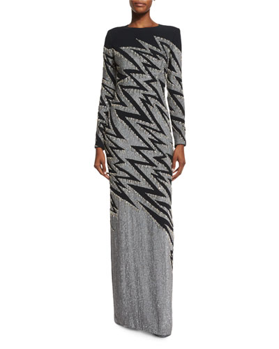 Zigzag-Beaded Long-Sleeve Gown, Black/Silver