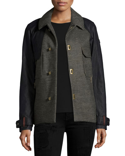 Short Two-Tone Wool Trench Coat, Olive Green/Heather Black