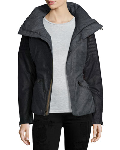 Wool and Leather Jacket, Charcoal/Heather Gray