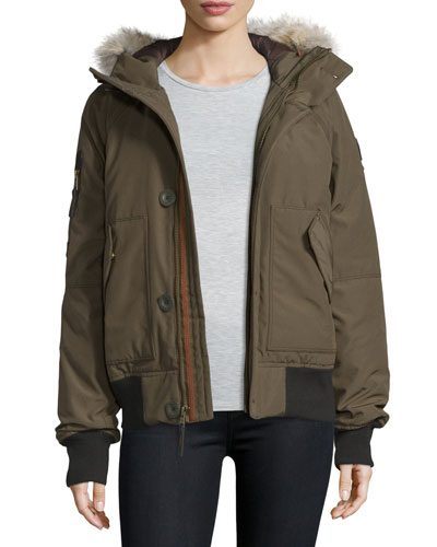 Hooded Faille Bomber Jacket, Olive Green