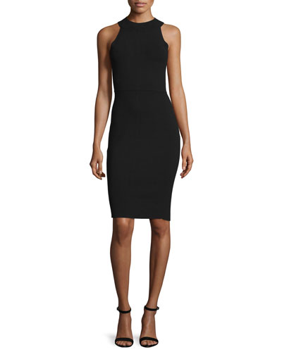Sleeveless Halter-Neck Structured Sheath Dress, Black