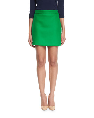 Double-Face Stretch-Wool Mini Skirt