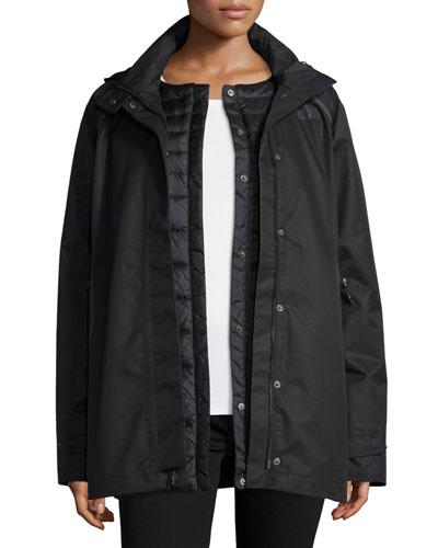3-in-1 Hooded Jacket w/ Down Liner, Black