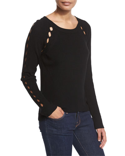 Ribbed Pointelle Inset Sweater, Black