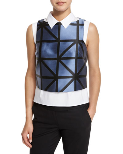 Graphic-Gridded Jacquard Shell, Ice/Black