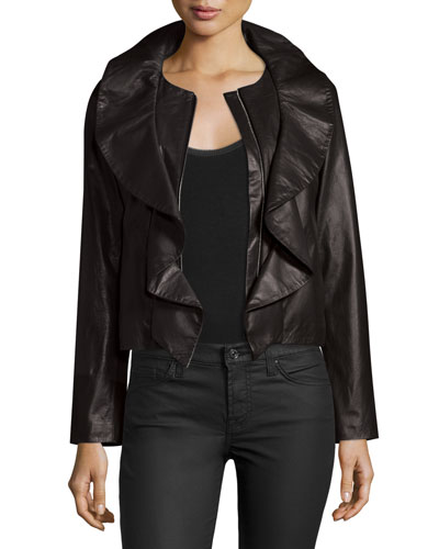 Lightweight Ruffle-Collar Leather Jacket, Black