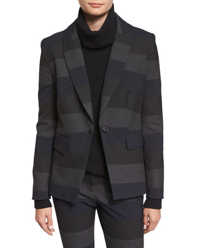 Kanae Khan Striped Blazer, Gray