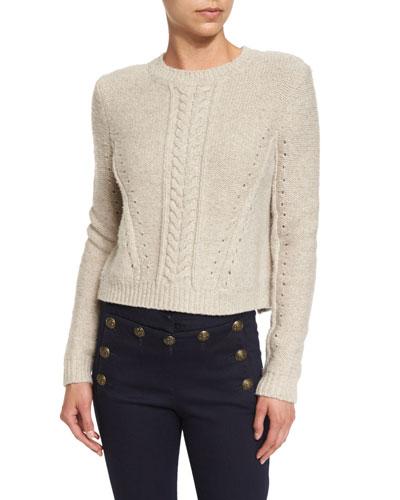 Charmer Cropped Wool-Blend Sweater, Oatmeal