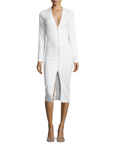 Firefly Long-Sleeve Ponte Sheath Dress, Ivory