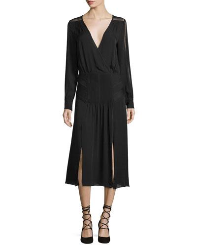 Fairy Lace-Trim Silk Midi Dress, Black