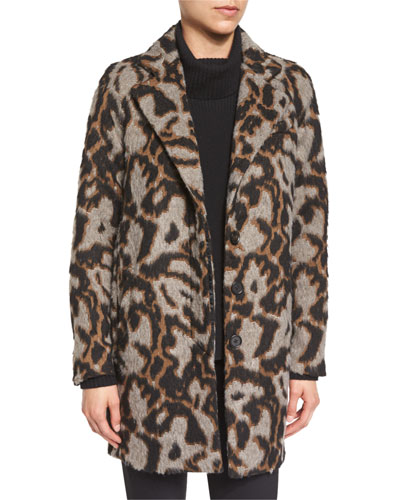Camille Short Animal-Print Cocoon Jacket, Multicolor