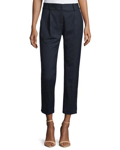 Edie Tapered Gabardine Ankle Pants, Navy