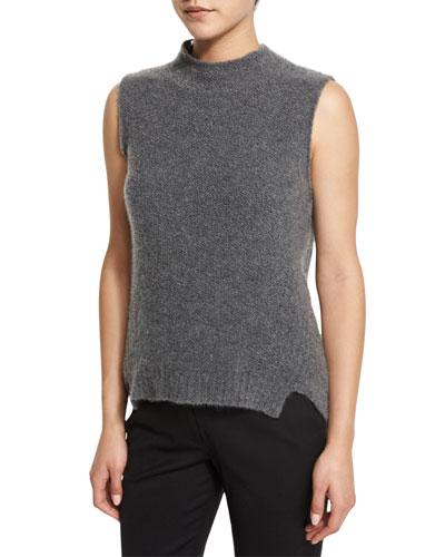 Sleeveless Mock-Neck Cashmere-Blend Vest, Gray