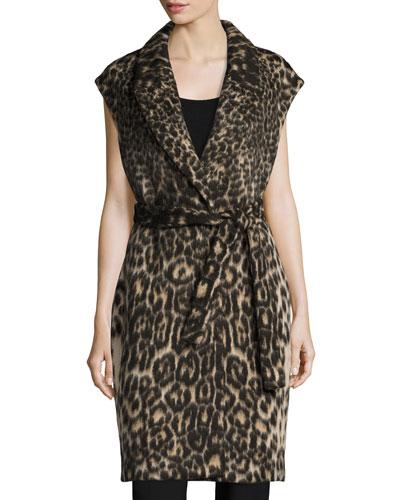 Noa Long Leopard-Jacquard Vest, Chocolate Multi