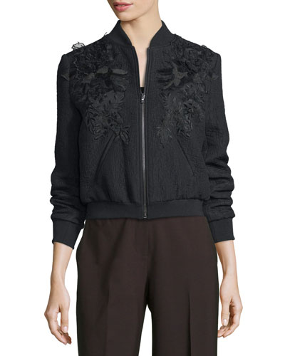Dawn Textured Floral-Trim Bomber Jacket, Black