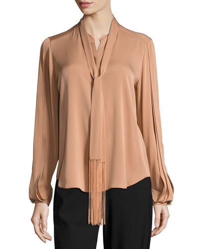 Tara Fringed Tie-Neck Stretch-Silk Blouse, Copper
